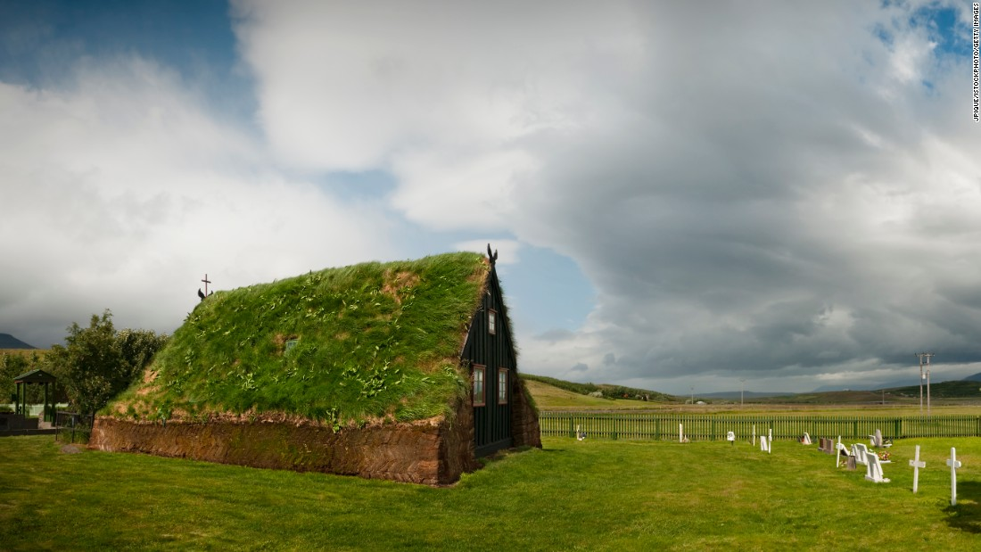 The church at Skagafjordur is one of the last few preserved turf churches, and is a National Icelandic Landmark.