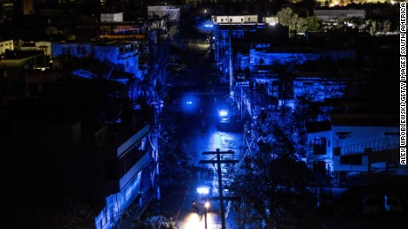 Darkness envelopes San Juan afte Hurricane Maria made landfall on Wendesday, leaving the entire island without power.