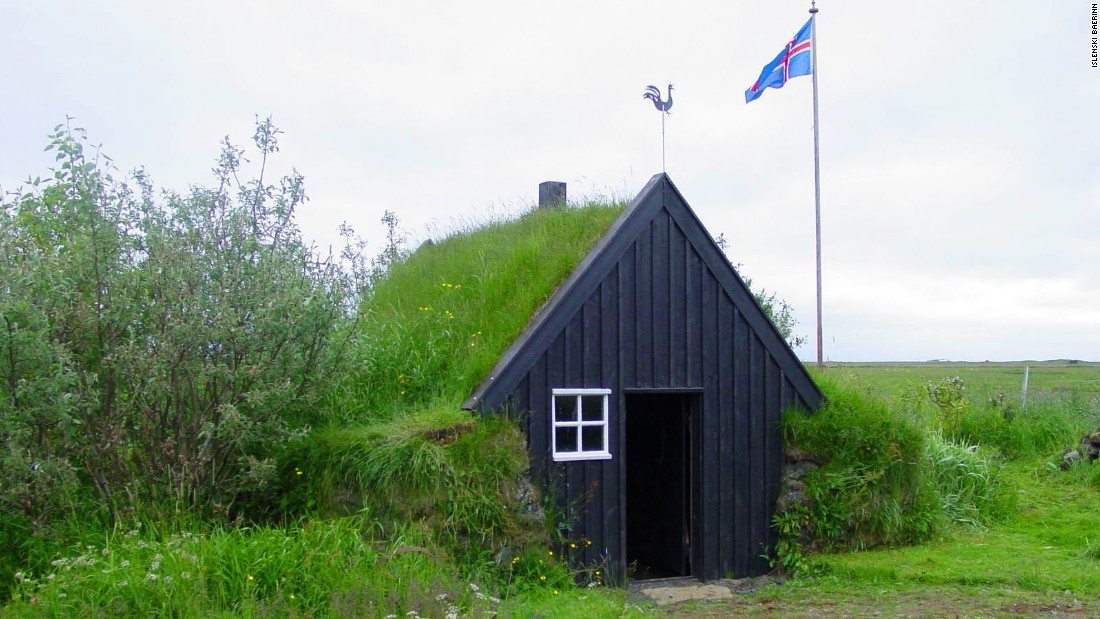 As Iceland urbanized, turf structures became less common. Pictured is a turf house that has survived modernization in Iceland.