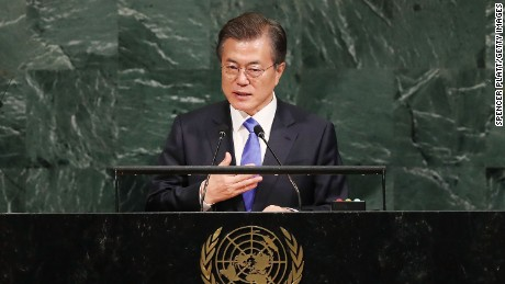 South Korea's Moon urges North to give up nuclear weapons