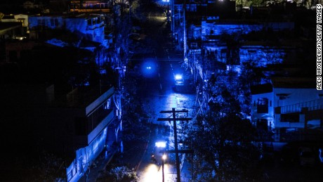 SAN JUAN, PUERTO RICO - SEPTEMBER 20: San Juan is seen during a blackout after Hurricane Maria made landfall on September 20, 2017 in Puerto Rico. Thousands of people have sought refuge in shelters, and electricity and phone lines have been severely effected. (Photo by Alex Wroblewski/Getty Images)