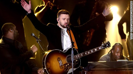Musician Justin Timberlake performs onstage at the 49th annual CMA Awards at the Bridgestone Arena on November 4, 2015 in Nashville, Tennessee.  (Photo by Terry Wyatt/WireImage)