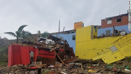 'Despacito' neighborhood severely damaged by Hurricane Maria, La Perla, San Juan, Puerto Rico.