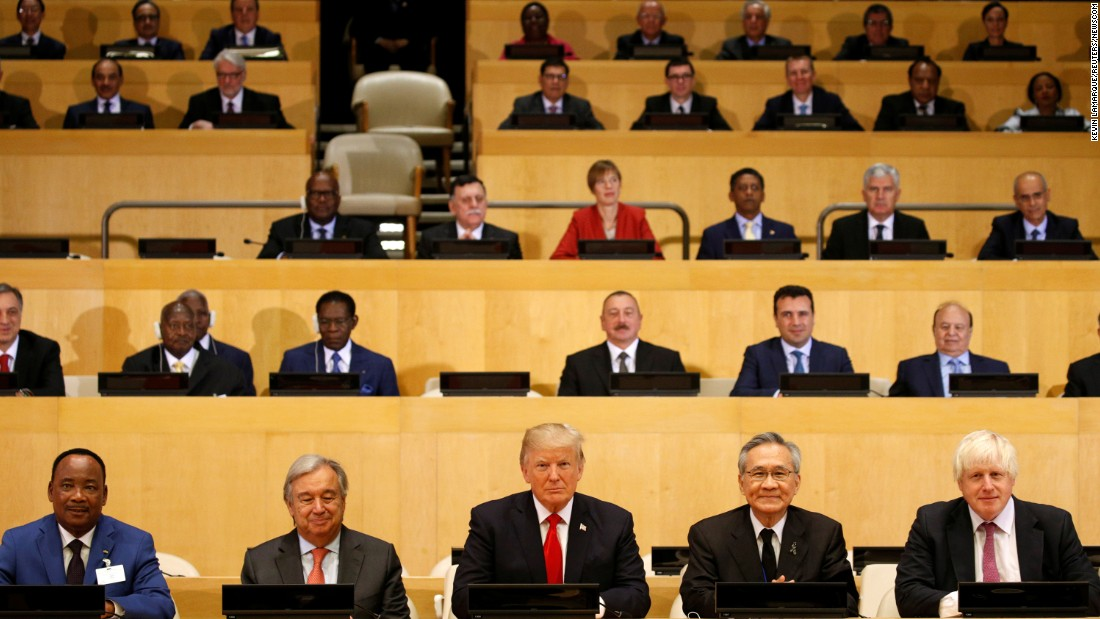 "US President Donald Trump, front center, attends his first UN General Assembly on Monday, September 18. In his speech the next day, <a href=""http://www.cnn.com/2017/09/18/politics/donald-trump-un-speech-iran-north-korea/index.html"" target=""_blank"">he delivered frank assessments</a> to a range of sticky global flashpoints."