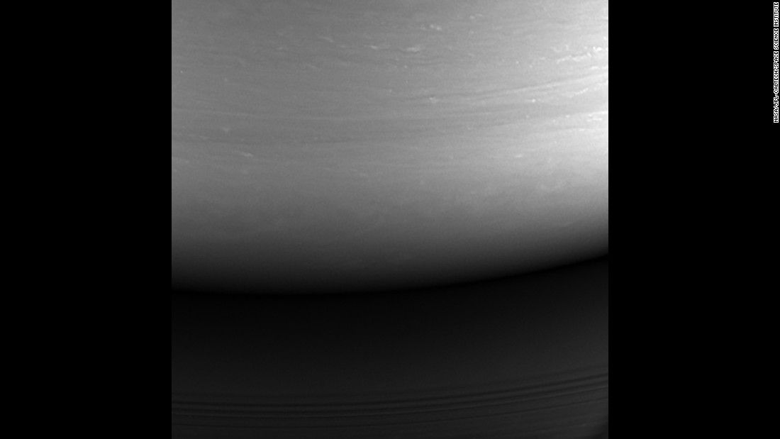 "This monochrome photo of Saturn was the last image taken by NASA's Cassini spacecraft before <a href=""http://www.cnn.com/2017/09/15/us/cassini-mission-ends/index.html"" target=""_blank"">it was deliberately sunk into the planet's atmosphere</a> on Friday, September 15. Cassini spent 13 years exploring the planet and its moons. The data and images led to numerous discoveries that changed how scientists think about our solar system."