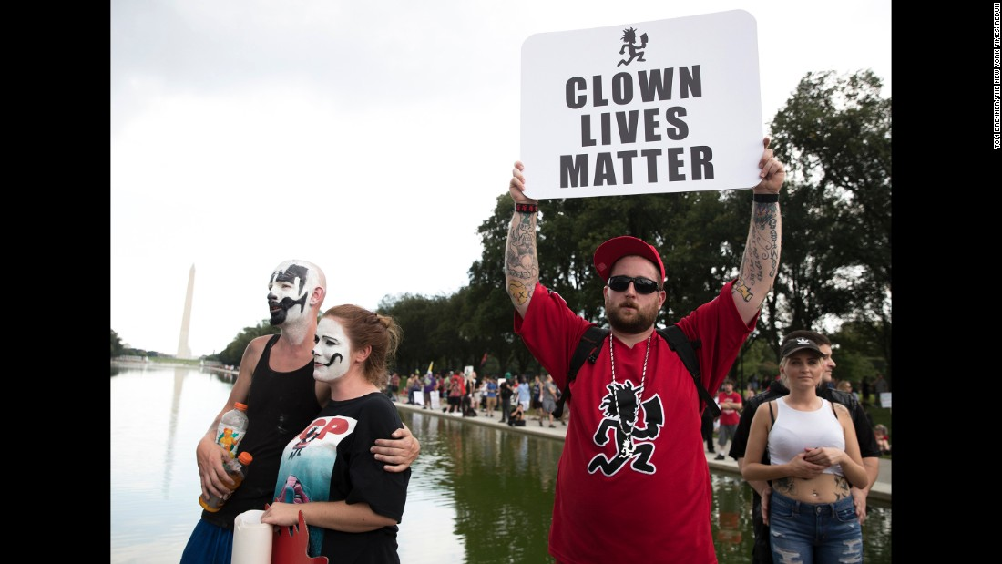 "Fans of the rap group Insane Clown Posse, aka Juggalos, attend a march in Washington on Saturday, September 16. <a href=""http://www.cnn.com/2017/09/16/us/cnnphotos-juggalo-trump-rally-washington-trnd/index.html"" target=""_blank"">More than 1,000 Juggalos came out</a> to protest the FBI's 2011 decision to classify them as a criminal gang."