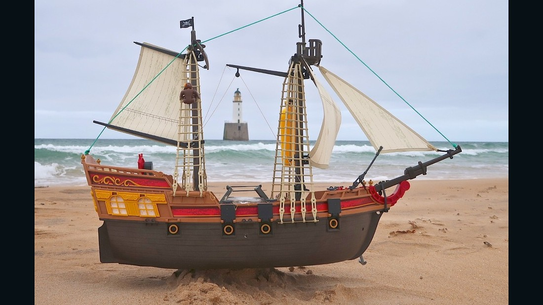 A Playmobil pirate ship has sailed all of the way from the UK to Scandinavia and beyond.