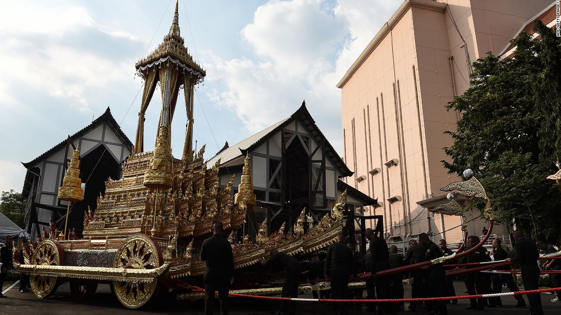 <strong>Royal chariots and palanquins: </strong>This is one of the royal chariots, which will be used during the cremation ceremony. A ceremony was held last month to bless the chariot.