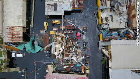 An aerial view shows the flooded neighbourhood of Juana Matos in the aftermath of Hurricane Maria in Catano, Puerto Rico, on September 22.
