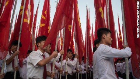 Students march during a mass rally on Kim Il-Sung sqaure in Pyongyang on September 23.