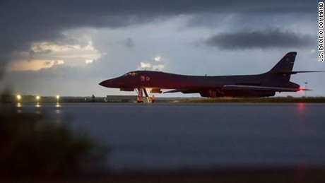 A U.S. Air Force B-1B Lancer, assigned to the 37th Expeditionary Bomb Squadron, deployed from Ellsworth Air Force Base, South Dakota, prepares to take off from Andersen AFB, Guam, Sept. 23, 2017. This mission was flown as part of the continuing demonstration of the ironclad U.S. commitment to the defense of its homeland and in support of its partners and allies. ----- In a show of force, U.S. Air Force bombers flew in international airspace over waters east of North Korea. The Pentagon said this is the farthest north of the DMZ any U.S. fighters or bomber has flown off North Korea's coast in the 21st century.