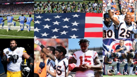 Collage showing various scenes showing NFL players during the playing of the national anthem on Sunday, September 24, 2017.