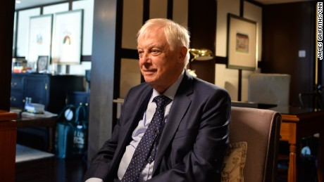 Chris Patten, the last British governor of Hong Kong, speaks to CNN during an interview on September 21, 2017.