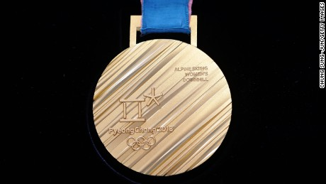 The back side of the gold medal on display at PyeongChang 2018 Olympic medal unveiling ceremony at the Seoul Dongdaemun Design Plaza on September 21, 2017, in Seoul, South Korea.