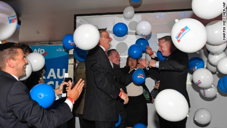 AfD board members celebrate with baloons during the election party of the nationalist 'Alternative for Germany', AfD, in Berlin, Germany, Sunday, Sept. 24, 2017, after the polling stations for the German parliament elections had been closed. (AP Photo/Martin Meissner)