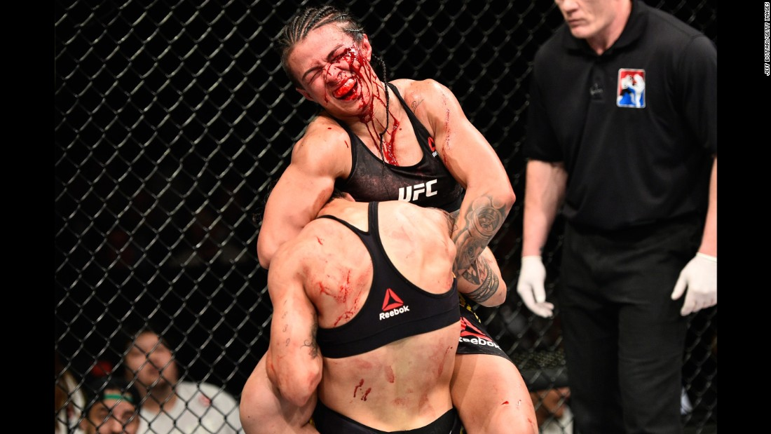 Claudia Gadelha tries to force Jessica Andrade to submit during their UFC bout in Saitama, Japan, on Friday, September 22. Andrade won a unanimous decision in what was named the Fight of the Night.