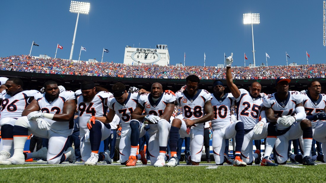 "Before playing the Buffalo Bills on Sunday, September 24, members of the Denver Broncos take a knee during the national anthem. All eyes were on NFL sidelines Sunday, a couple of days after President Donald Trump <a href=""http://www.cnn.com/2017/09/23/politics/nfl-goodell-trump-response/index.html"" target=""_blank"">strongly criticized players</a> who have been protesting during the anthem. Many players and coaches from across the league -- and some team owners, too -- <a href=""http://www.cnn.com/2017/09/24/us/nfl-trump-take-knee-protests/index.html"" target=""_blank"">came together during pregame ceremonies,</a> locking arms or putting their hands on each other's shoulders. <a href=""http://www.cnn.com/interactive/2017/09/us/nfl-anthem-protests-cnnphotos/index.html"" target=""_blank"">See more photos from the protests</a>"