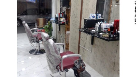 A barbershop in Mosul, Iraq.
