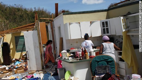 Hurricane Maria ripped roofs off many houses.