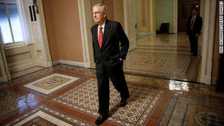 WASHINGTON, DC - SEPTEMBER 26:  U.S. Senate Majority Leader Mitch McConnell (R-KY) walks to his office in the Capitol September 26, 2017 in Washington, DC. The U.S. Senate is expected to reach a pivotal point today in their latest effort to repeal the Affordable Care Act.  (Photo by Win McNamee/Getty Images)