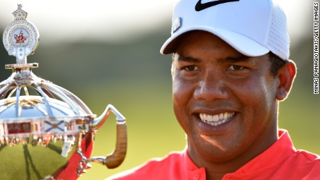 OAKVILLE, ON - JULY 30:  Jhonattan Vegas of Venezuela poses with the trophy following the final round of the RBC Canadian Open at Glen Abbey Golf Club on July 30, 2017 in Oakville, Canada.  (Photo by Minas Panagiotakis/Getty Images)