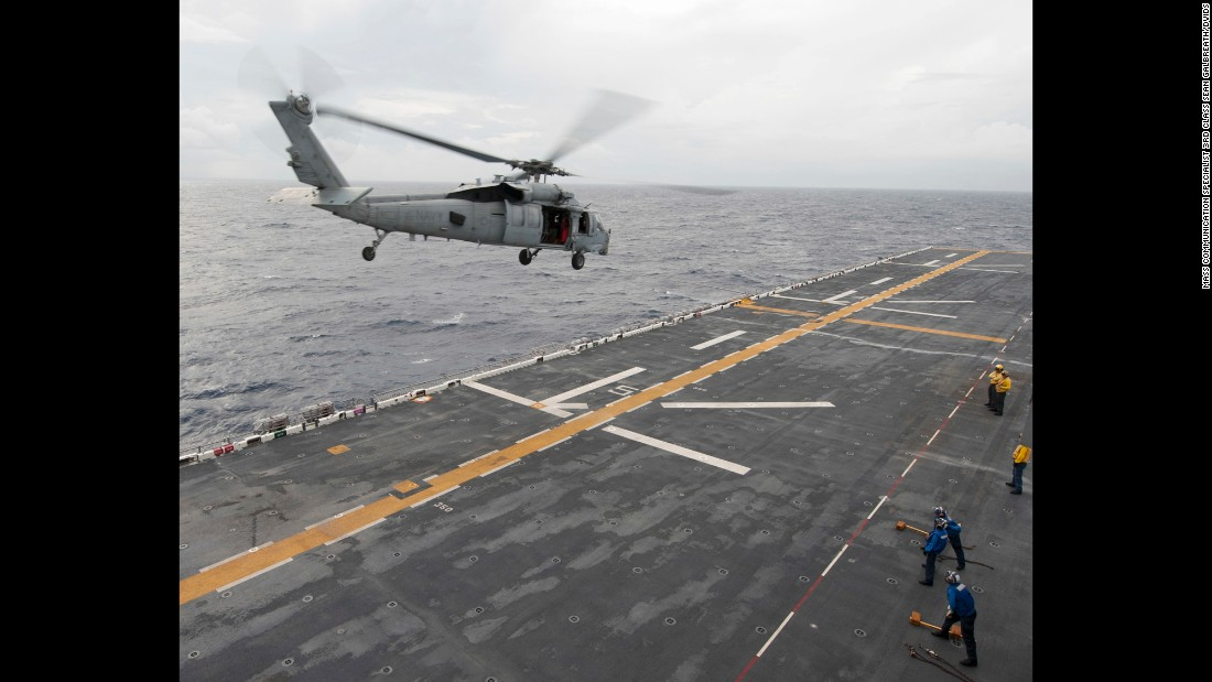 An MH-60S Seahawk takes off from the USS Wasp, which was in the Caribbean Sea on Thursday, September 7. In the aftermath of Hurricane Irma, helicopters were conducting medical evacuations in the US Virgin Islands.