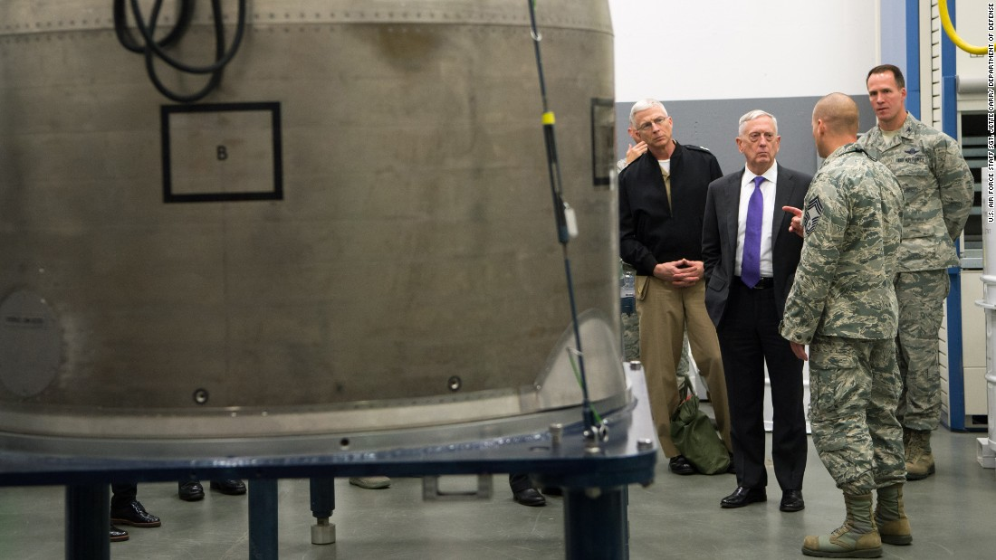 US Secretary of Defense Jim Mattis, third from right, visits North Dakota's Minot Air Force Base on Wednesday, September 13. The base is home to many nuclear missiles and bomber planes.