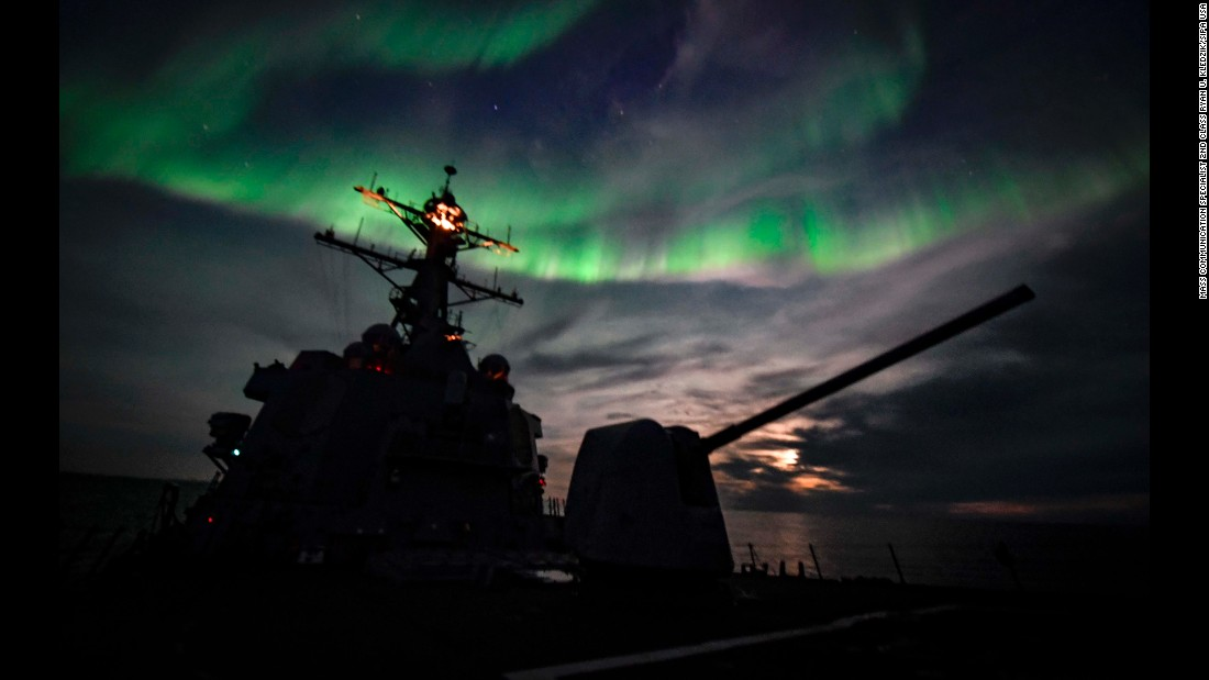 The USS Oscar Austin, an Arleigh Burke-class destroyer, travels in the Arctic Circle on Thursday, September 5.