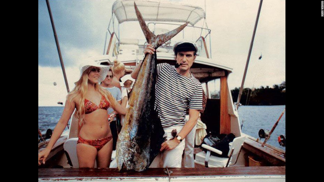 Hefner displays his catch while fishing off the coast of Miami, Florida in this undated photo he shared on Twitter.