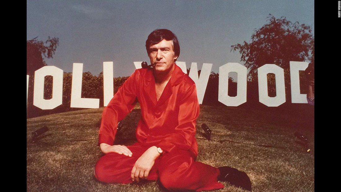 Hefner seen in front of the Hollywood sign in 1978 in this photo for Weekend Magazine he shared on Twitter.