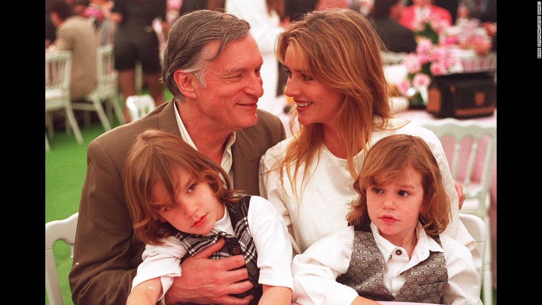 Hefner seen with his second wife, Kimberley Conrad, a former Playboy Playmate of the Year, and their sons Marston and Cooper in April 1994.
