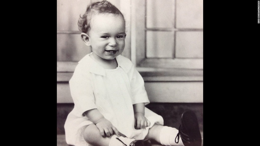 Hefner was born April 9, 1926, in Chicago to Glenn Hefner, an accountant, and Grace Hefner, a teacher. Both parents were conservative Protestants from Nebraska. This photo shows a 1-year-old Hugh, shared by Hefner himself on Instagram in 2013.