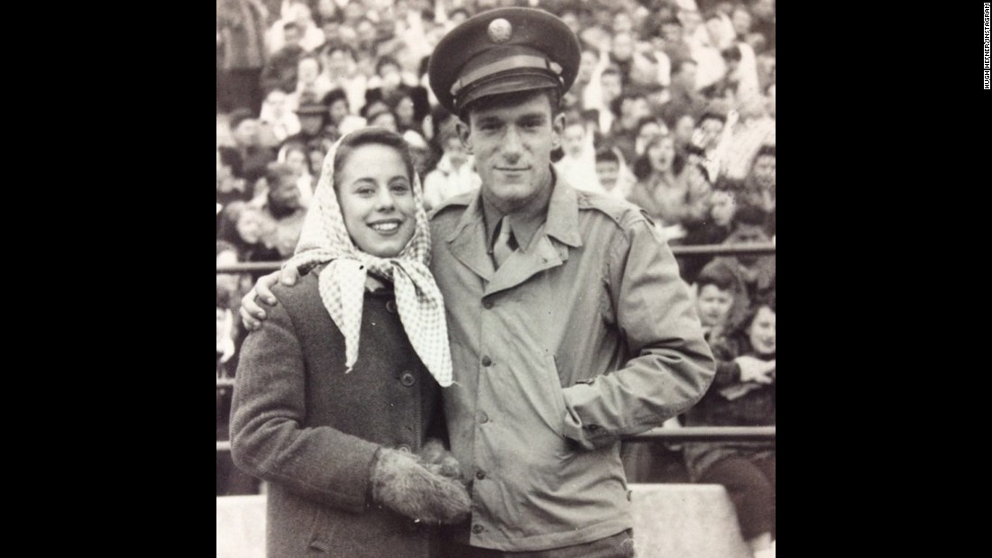 Hefner poses for a photo at a high school football game in 1944. Shortly after he  graduated from high school that year, Hefner joined the US Army as a writer for a military newspaper.