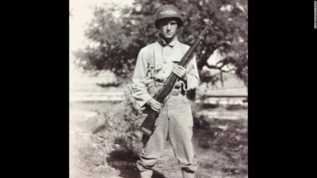 Hefner seen at Camp Hood, a US Army base in Texas, in 1944.