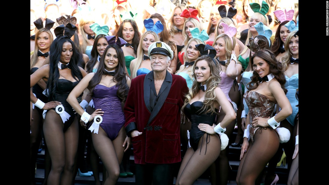 Hefner poses with Playmate of the Year 2013 Raquel Pomplun, second left, and Crystal Hefner, second right, at Playboy's 60th Anniversary special event on January 16, 2014 in Los Angeles.