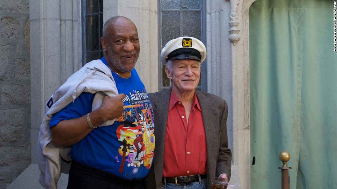 Bill Cosby and Hugh Hefner pose together at Berverly Hills Playboy Mansion in February 2011.