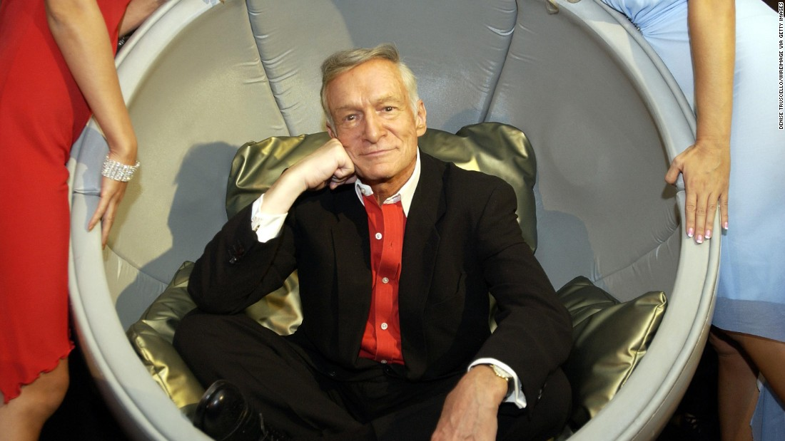 Hefner poses at an event celebrating Playboy's 50th Anniversary at The Palms Casino Resort in Las Vegas, Nevada in September 2003.
