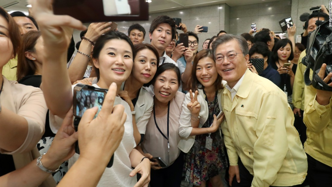 Since taking office, Moon has been a popular figure, achieving a nearly 80% approval rating in his first 100 days in office.