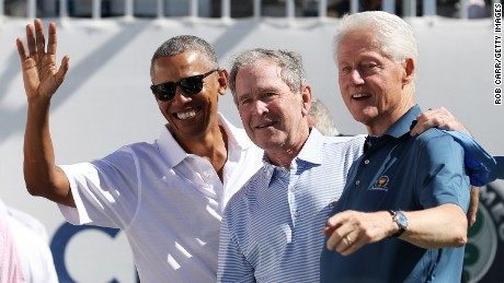 Obama, Bush and Clinton appear together at Presidents Cup