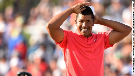 OAKVILLE, ON - JULY 30:  Jhonattan Vegas of Venezuela reacts to his winning putt during a sudden death playoff during the final round of the RBC Canadian Open at Glen Abbey Golf Club on July 30, 2017 in Oakville, Canada.  (Photo by Minas Panagiotakis/Getty Images)