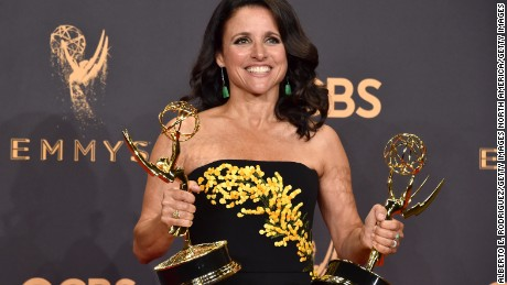 LOS ANGELES, CA - SEPTEMBER 17:  Actor Julia Louis-Dreyfus, winner of the award for Outstanding Comedy Actress for 'Veep,' poses in the press room during the 69th Annual Primetime Emmy Awards at Microsoft Theater on September 17, 2017 in Los Angeles, California.  (Photo by Alberto E. Rodriguez/Getty Images)