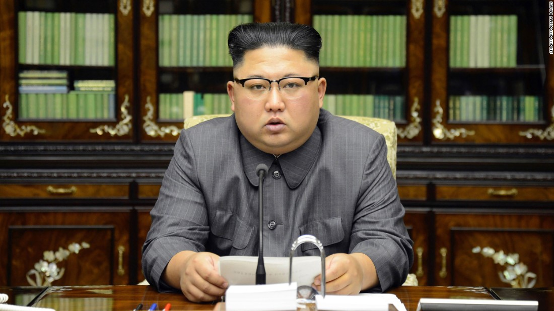 "In this Thursday, September 21 photo, distributed by the North Korean government on Friday, September 22, North Korean leader Kim Jong Un delivers a statement in Pyongyang, North Korea. The <a href=""http://www.cnn.com/2017/09/21/politics/kim-jong-un-on-trump-comments/index.html"" target=""_blank"">forceful rhetoric from Pyongyang</a> came after Trump threatened to ""totally destroy"" North Korea in a speech to the UN General Assembly on Tuesday, September 19. In a rare direct statement delivered straight to camera, Kim said Trump would ""pay dearly"" for the threats, and said Trump's comments are reflective of ""mentally deranged behavior."""