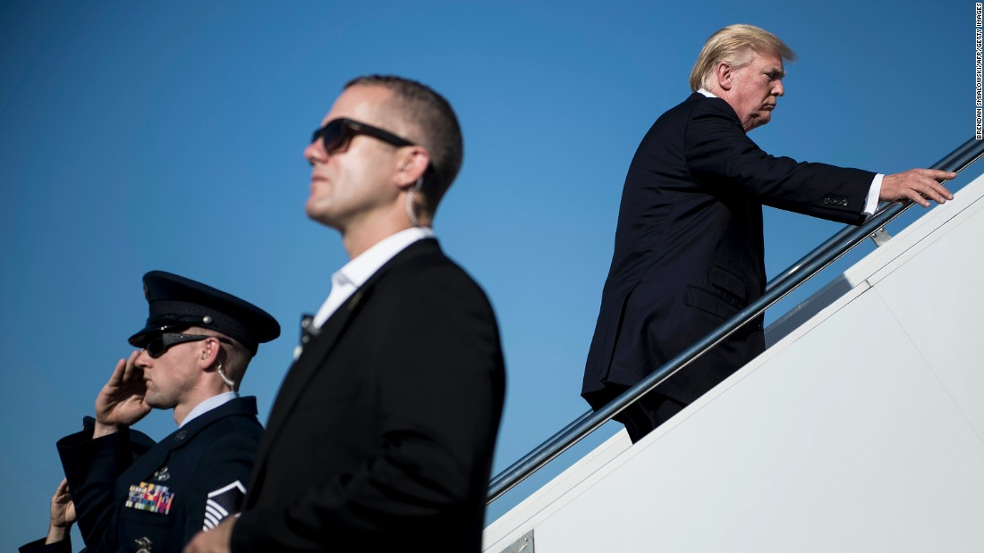 US President Donald Trump boards Air Force One at the airport in Morristown, New Jersey, on Sunday, September 24.