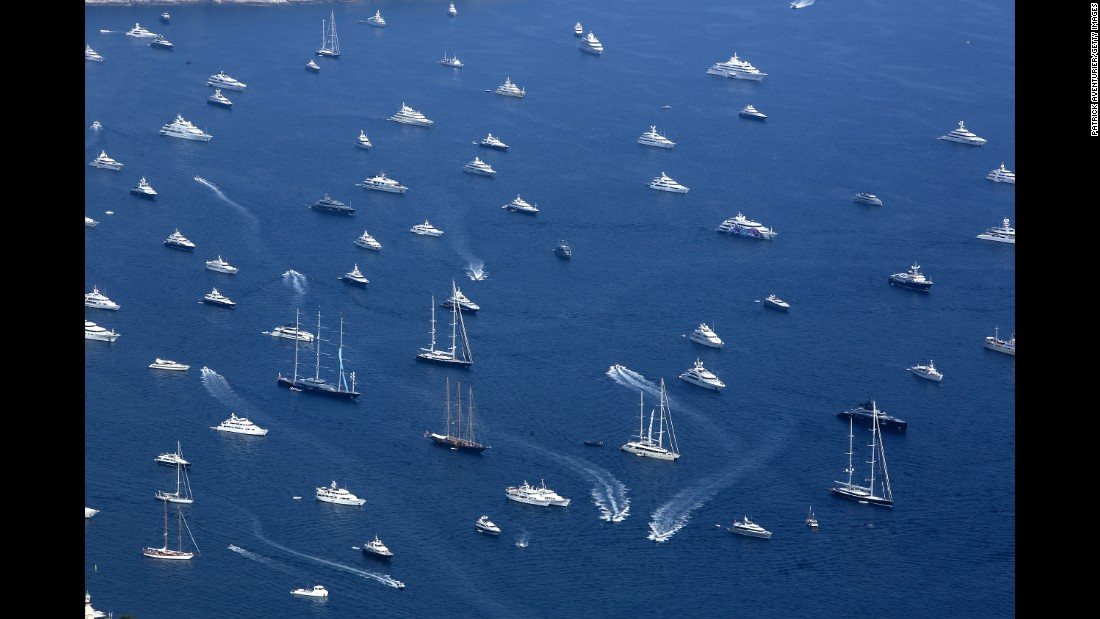 "Yachts are displayed on Thursday, September 28, at Port Hercules in Monaco for the 27th <a href=""http://www.monacoyachtshow.com/en/"" target=""_blank"">Monaco Yacht Show</a>."