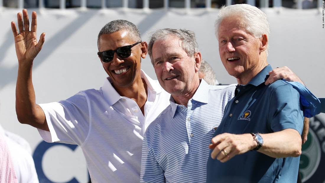 Former US Presidents Barack Obama, George W. Bush and Bill Clinton kicked off the Presidents Cup tournament in New Jersey on Thursday -- the first time three former presidents have attended the biennial event.