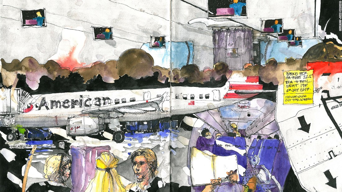 Painting on planes: Stunning sketches of airplane life