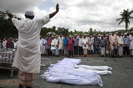 Prayers are conducted in Inani, Bangladesh,  for the Rohingya who died. (Paula Bronstein/Getty Images)
