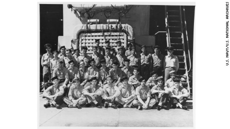 Members of the USS Indianapolis's crew pose in the well deck during World War II.