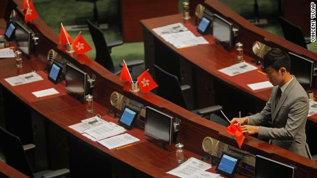 "Lawmaker Cheng Chung-tai was found guilty of ""desecrating"" Hong Kong's flag by flipping it over during a parliamentary session."