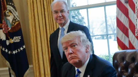 In this March 24, 2017 file photo, President Donald Trump with Health and Human Services Secretary Tom Price are seen in the Oval Office of the White House in Washington. For Republicans, health care is becoming a big political gamble. Not only are they trying to scale back major benefit programs being used by millions of people, but they're doing so even as the public is leery of drastic changes, and there's no support outside their own party.